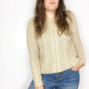 DENIM & SUPPLY Tan Gold Chunky Cable Knit Sweater